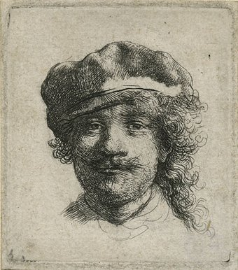 Self portrait wearing a soft hat, etching on paper c 1634. Copyright Norfolk Museum Service.