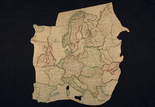 An early jigsaw map of Europe made by John Spilsbury in 1766. From the collections of York Castle Museum. Courtesy of York Museums Trust