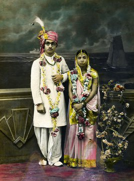 Unknown photographer and artist, Wedding portrait of an Indian couple, c. 1920 - 40. Alkazi Foundation for the Arts