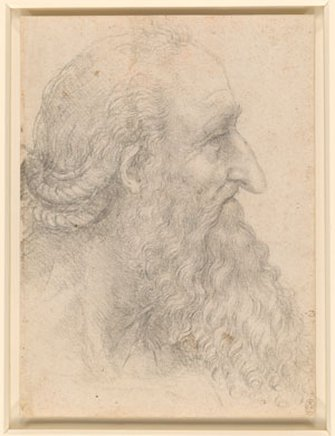 Leonardo da Vinci 'Head of an old bearded man'. Royal Collection Trust/ c. Her Majesty Queen Elizabeth II 2019