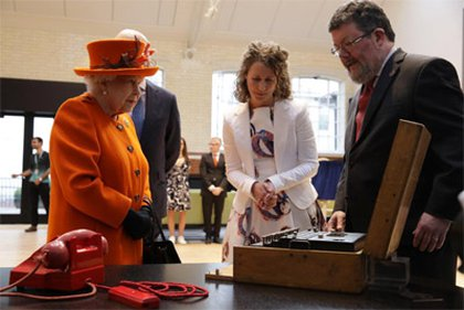 Her Majesty The Queen at the Science Museum on 7 March 2019, with objects from the upcoming Top Secret exhibition including Enigma M1070 c The Science Museum Group