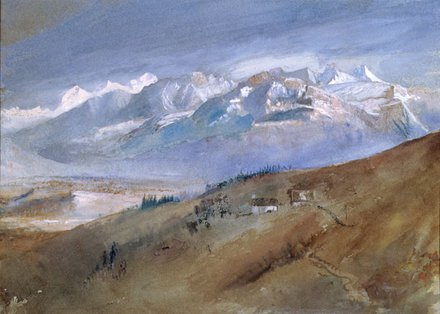 John Ruskin, 'The View from My Window, Mornex', 1862, watercolour, Lakeland Arts