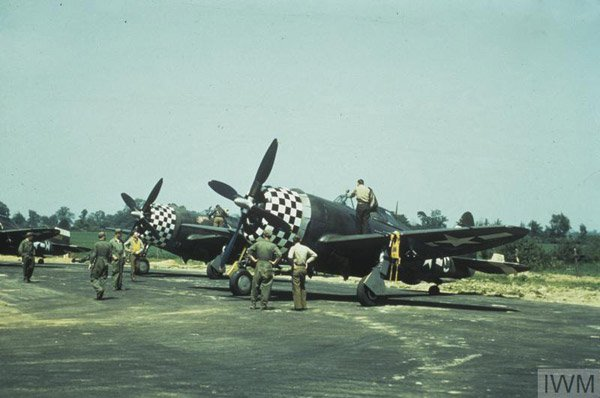 D-Day 75 -  © IWM (FRE 5604) P-47 Thunderbolt aircraft of the 83rd Fighter Squadron, 78th Fighter Group at Duxford