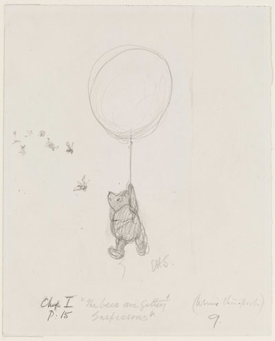 'The bees are getting suspicious', Winnie-the-Pooh  chapter 1, pencil drawing by E.  H. Shepard. c The Shepard Trust