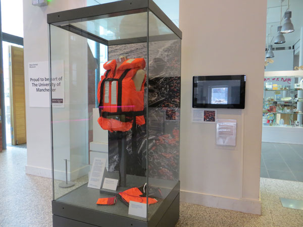 The newly acquired life jacket at Manchester Museum