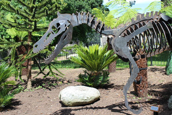 The new prehistoric garden at the Horniman Museum, complete with velociraptor. Courtesy of the Horniman museum.