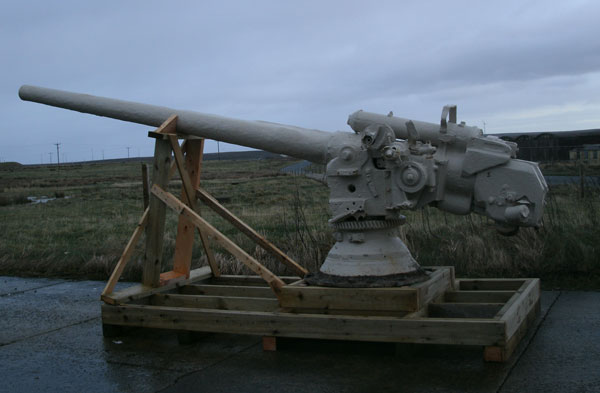 Orkney Islands Council is lending two FWW guns, including this large deck gun from a German B98 destroyer to the National Museum of the Royal Navy as part of commemorations of the Battle of Jutland.  The gun is usually on display at Scapa Flow Visitor Centre and Museum at Lyness.  Image courtesy of Orkney Islands Council. NMRN is among the military museums to receive support from LIBOR fines announced in the CSR.