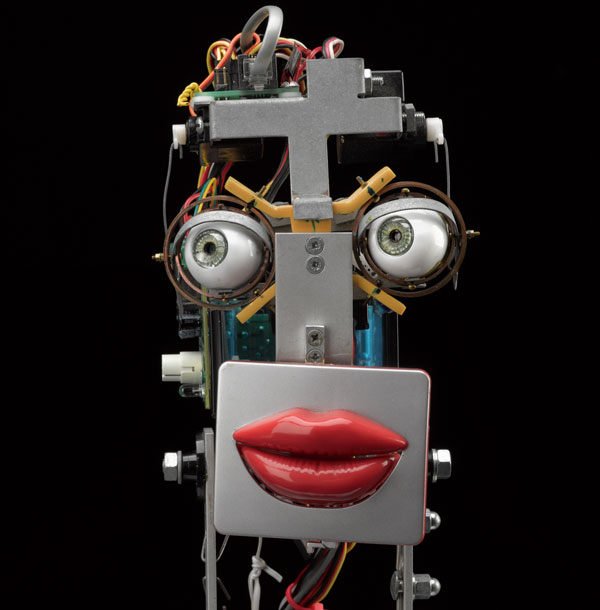 Inkha, a reactive robot head that tracks movement and speaks, built by Matthew Walker in 2003.