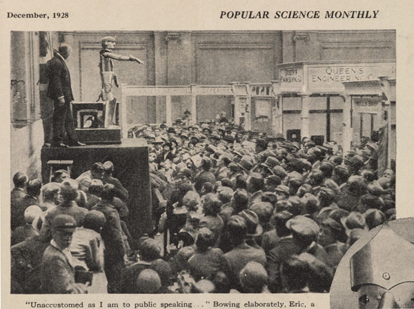 The original Eric features in Popular Science Monthly in 1928, shown to enthuaistic crowds.