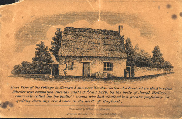 original yellowed postcard of Joe the Quilters cottage