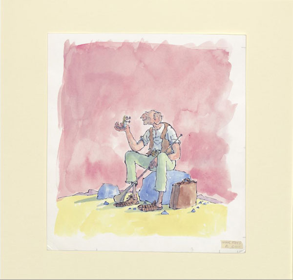 Cover artwork for 'The BFG' (Jonathan Cape, 1982) c. Quentin Blake, as part of The BFG in Pictures, a touring exhibition from the House of Illustration.
