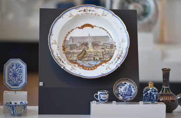 large bowl and other objects on display in the gallery