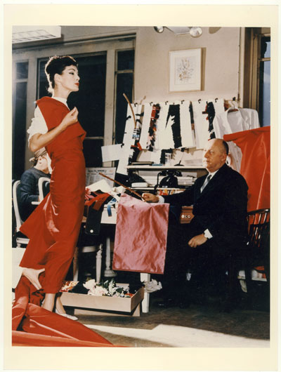 Christian Dior with Lucky in red dress